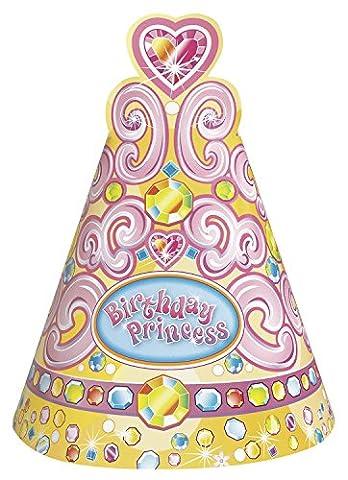 Unique Party - 25661 - Paquet de 8 Chapeaux de Fête Jolie Princesse