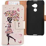 """Lankashi PU Flip Leder Tasche Hülle Case Cover Schutz Handy Etui Skin Für Blackberry DTEK 60 5.5"""" Umbrella Girl Design"""