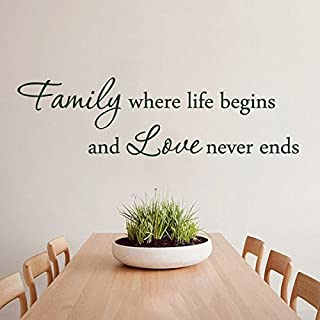 Wall Decal Quotes Love Quote Vinyl -Family Where Life Begins and Love Never Ends - Master Room Art Mural Family Room Sticker(X-Large)
