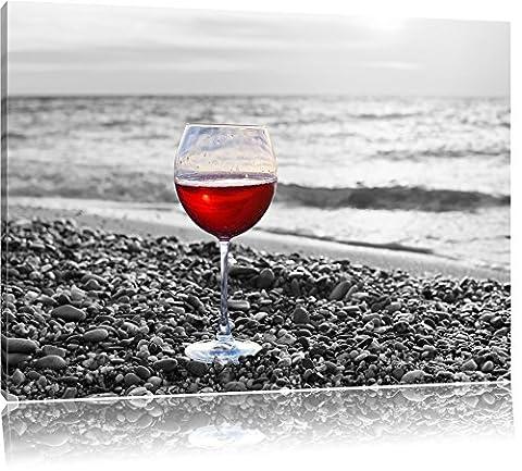 Weinglas am Steinstrand Schwarz/Weiß, Format: 80x60 auf Leinwand, XXL riesige Bilder fertig gerahmt mit Keilrahmen, Kunstdruck auf Wandbild mit Rahmen, günstiger als Gemälde oder Ölbild, kein Poster oder Plakat
