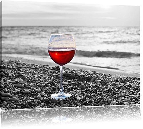 Weinglas am Steinstrand Schwarz/Weiß, Format: 80x60 auf Leinwand, XXL riesige Bilder fertig gerahmt...