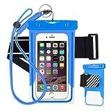 Wasserdichte Handytasche, blau leuchtenden wasserdichte Handyhülle, geeignet für Apple iPhone 8/7/6 s / 6/5/5 s / SE / 5c, Samsung Galaxy s5 / s6 / s6 Rand / s7, Huawei, HTC, LG, Nokia, etc. 6 Zoll Smartphone