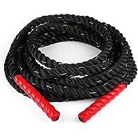 Capital Sports Monster Rope cuerda Cross-Training (12 metros longitud, 3,8 cm diámetro, nailon, cabo triple, extremos con funda termoretráctil evita quemaduras) - negro rojo