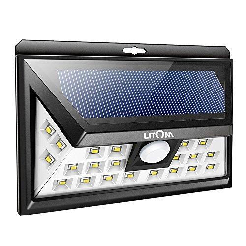 Litom Solarleuchten, 24 LED Wandleuchte Außen, Solar Betriebene Außenleuchte, Wasserdichte 3 Modi...