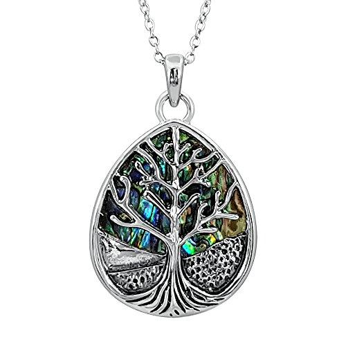 r birnenförmig, Keltischer Baum des Lebens Anhänger Halskette eingelegt beide Seiten mit bläulich grün Paua Abalone Shell auf 45,7 cm Trace Kette. Silber Farbe Rhodiniert. (Nachkommen Kostüme Amazon)