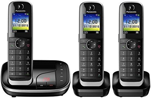 Panasonic KX-TGJ323GB Familien-Telefon mit Anrufbeantworter/ Duo Telefon mit 2 Mobilteilen, schnurloses Telefon, strahlungsarm, schwarz