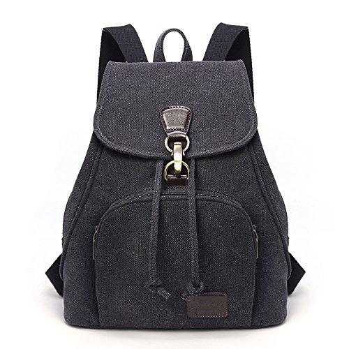 TIBES Rucksäcke für Damen Rucksackhandtaschen Schulranzen Canvas Tasche Schultaschen Daypacks Studententasche, M, A Schwarz