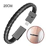 Navigate pulsera Cable de datos, portable USB de manguito para iPhone Oppo Huawei mijo tipo de C, Negro