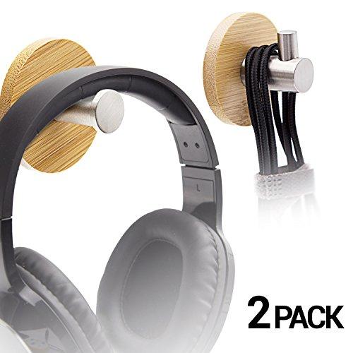 LEAPCOVER Wooden By-Desk Kopfhörer Stand - Adhesive Data Kabel Haken - Headset Stick-on Halter mit Sticky Pad für Haus und Büro