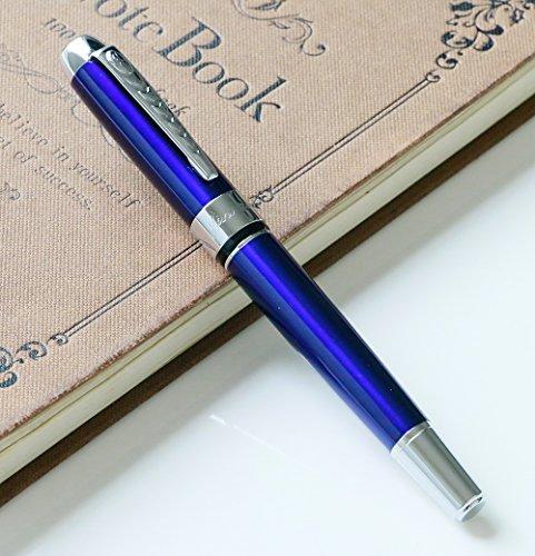 Füllfederhalter jinhao 250 Metall Mittlere Spitze kalligraphie füller hochwertige schreibgeräte with Gift pen pouch (Blue)