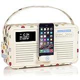 VQ Retro Mk II DAB/DAB+ Digital- und FM-Radio mit Bluetooth, Apple Lightning Dock und Weckfunktion - Emma Bridgewater Tupfen