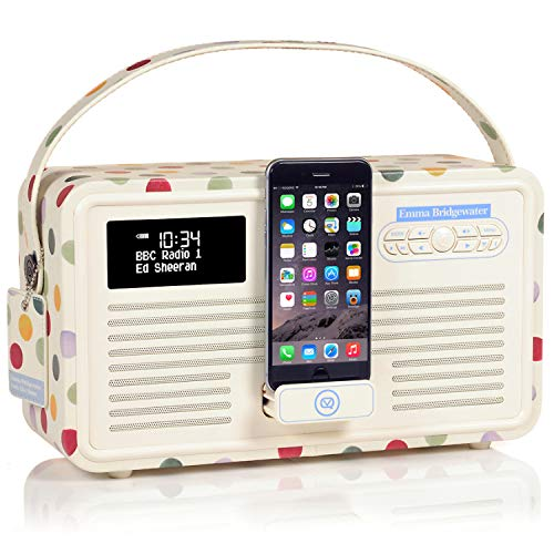 VQ Retro Mk II DAB/DAB+ Digital- und FM-Radio mit Bluetooth, Lightning Dock und Weckfunktion - Emma Bridgewater Polka Dot - Mit Iphone-dock Cd-player