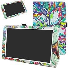 """Alcatel Onetouch PIXI 3 (10) Funda,Mama Mouth Slim PU Cuero Con Soporte Funda Caso Case para 10.1"""" Alcatel One Touch Pixi3 10 Android Tablet,Love Tree"""