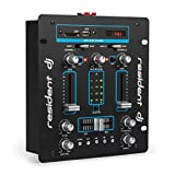 Resident DJ DJ-25 • DJ-Mixer • Mesa de mezclas • 2 canales • Compacta • Bluetooth • USB • SD • 2 entradas de línea • Fácil de usar • Sólida • Pantalla LCD • 2 terminales para altavoz • Negro/Azul