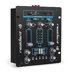 resident dj DJ-25 • DJ-Mixer • 2-Kanal Mischpult • DJ-Mischpult • USB-Port • MP3-fähig • Bluetooth-Schnittstelle • intergrierter Verstärker • Mikrofonsektion • Rackmontage • schwarz-blau