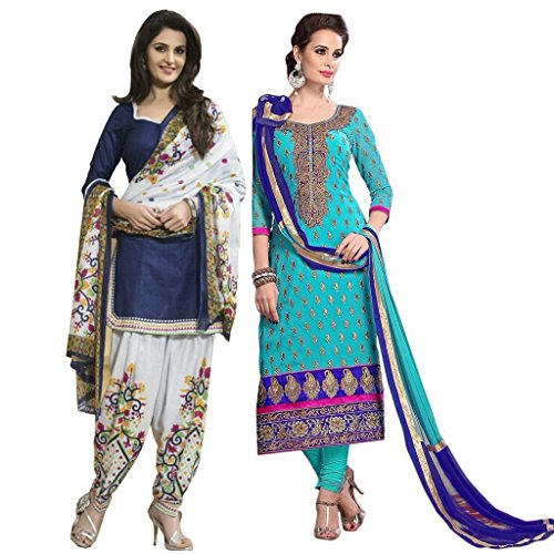 Pink Bird Women\'s Sky Blue Chanderi And Blue Polyester Patiyala Beautiful Traditional Partywear Salwar Suit Combo Of 2 (PB-6565-PB-5051a)