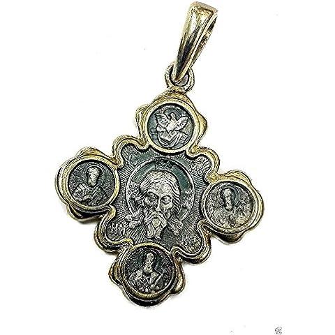 Vergine Maria e Gesù in argento 925 ciondolo 5 Micron oro amuleto Jerusalem 1.3