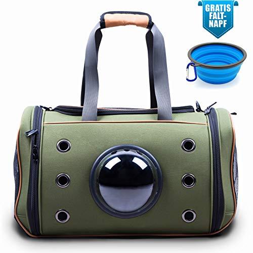 Lucky Lamb Cloudscout - Faltbare Tragetasche für Hund & Katze bis 15kg. Die Transporttasche mit dem Bullauge | Auto Flugzeug Zug aus reißfestem Netzgewebe + Gratis Faltnapf! (L, Oliv)