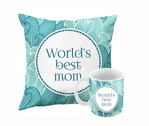 Worlds Best Mom | Printed 12x12 Cushion Cover With Filler And 330 ML Ceramic Mug | Gift For Mother | Best Gift For Mom | Birthday Gift For Mom | Gift For Mom On Mother's Day | Surprise Gift For Mother By Printelligent