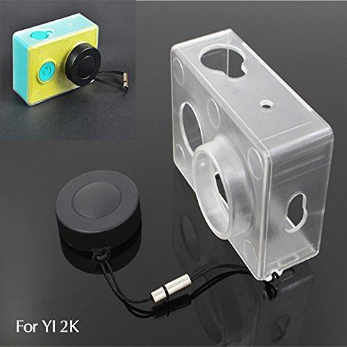 Galleria fotografica Imusk protezione della pelle per Xiaomi Yi Action Camera accessori copertura trasparente con copriobiettivo per Xiao Yi Cam