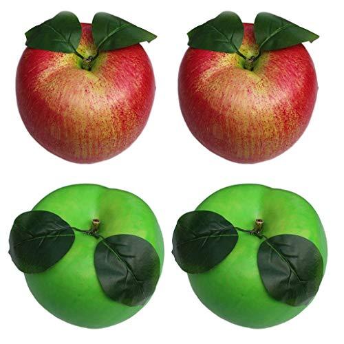 Artificial fruit 4pcs Künstliche Green & Red Äpfel Gefälschte Frucht A/pple Home Party Weihnachtsbaum DIY Dekoration Modell Größe: 20 X 17cm.
