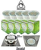 Trango 5er Pack dimmbare LED Modul Leuchtmittel 5TGMO15D I 3000K warmweiß Ultra flach nur 30mm Einbautiefe zum Austausch Einbaustrahler I Einbauleuchten I Deckenstrahler mit GU10 I MR16 Leuchtmittel