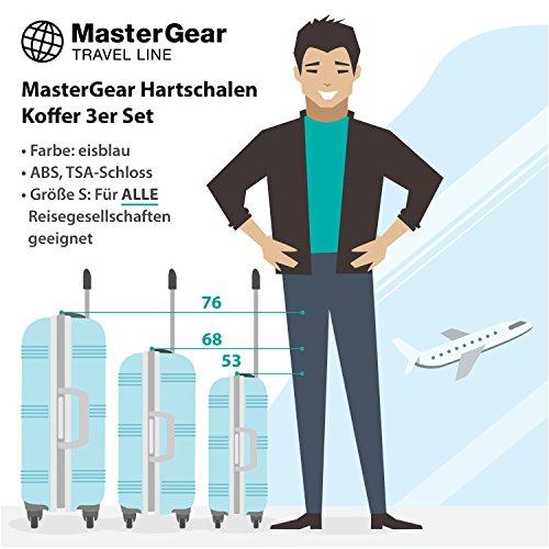 MasterGear Hartschalen Koffer 3er Set - mit 4 Rollen (360 Grad), Trolley, Reisekoffer, ABS, TSA, S (Handgepäck Maße)-M-L, stapelbar, eisblau
