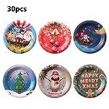 Ycncixwd - Piatti di carta usa e getta di Natale, decorazioni per la casa, set da tavola per feste, 30 pezzi