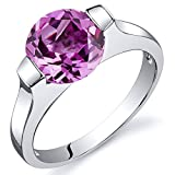 Revoni Bezel Set 2.75 carats Pink Sapphire Engagement Ring in Sterling Silver