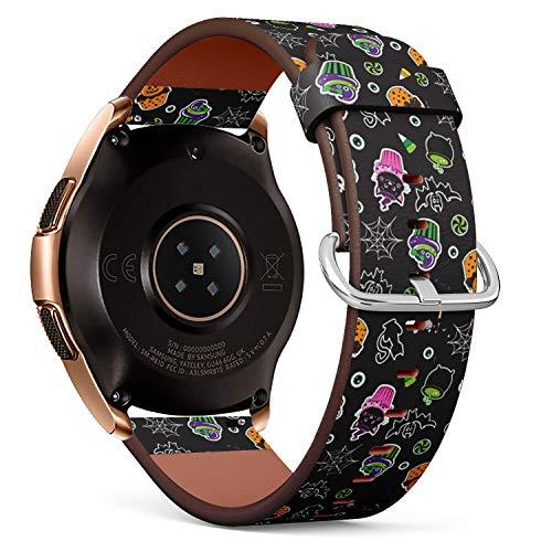 Art-Strap Kompatibel mit Samsung Galaxy Watch (42mm) - Leder-Armband Uhrenarmband Ersatzarmbänder mit Schnellverschluss (Happy Halloween Cupcakes süße Elemente)