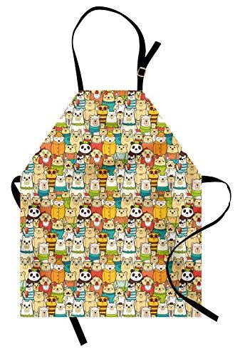 ABAKUHAUS Kinder Kochschürze, Viele Verschiedene Eisbär-komische Charaktere mit lustigen netten Gesichtern Doodle Teddy Crowd, Farbfest Höhenverstellbar Waschbar Klarer Digitaldruck, Mehrfarbig