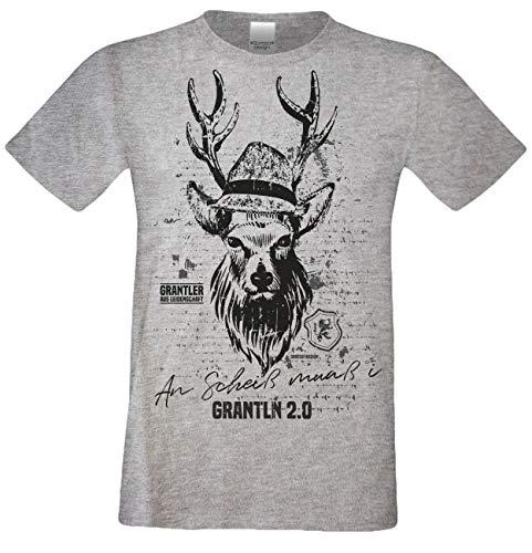 Kurzarm Trachten T-Shirt Herren : Hirsch An Scheiß muaß i - Grantln 2.0 Volksfest Oktoberfest Freizeitshirt Männer bis 5XL Farbe: dunkelgrau Gr: XXL