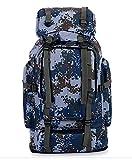 70L Herren Damen Tarnung Wanderrucksack - Trekkingrucksack Reiserucksack Mode lässig Camping Rucksack Gepäcktasche, Blau, 70L
