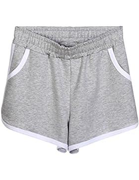 cbac4d5dbc460d Donna Casuale Sport Fitness Jogging Yoga Pantaloni Corti Vita Elastica  Pantaloncini Hot Pants Grigio chiaro XL