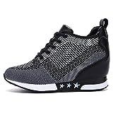 tqgold® Damen Keilabsatz Sneakers Turnschuh Wedges Sportschuhe Freizeit Schuhe Erhöht Einlegesohle 8CM (Schwarz Grau,37 EU)