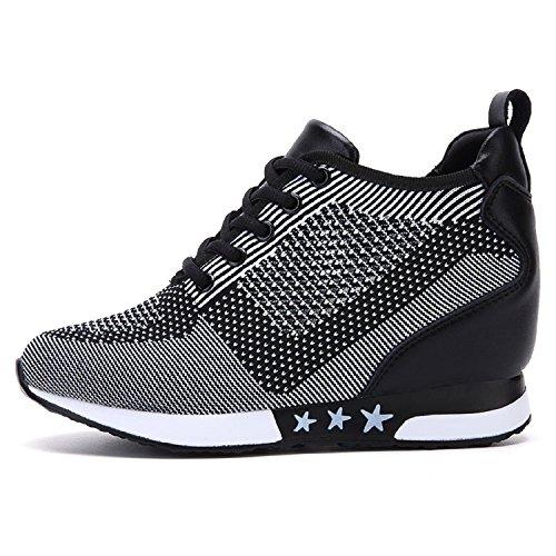 7f1b1506df4f9e tqgold Donna Scarpe da Ginnastica Sportive Fitness Basse Sneakers Zeppa  Interna 8CM (Nero Grigio