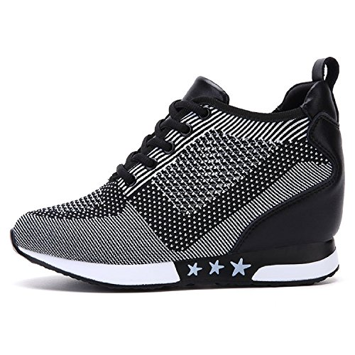 08688aec61 tqgold Donna Scarpe da Ginnastica Sportive Fitness Basse Sneakers Zeppa  Interna 8CM (Nero Grigio,35 EU)