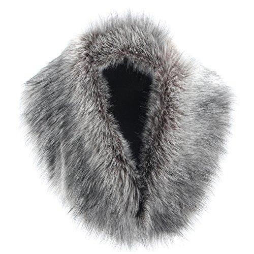 YANIBEST große abnehmbare lange faux Pelzkragen für Wintermantel (Lange Schal Kragen)
