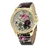 PINEsong Mode Damen Rosenmuster Analoger Quarz Armbanduhr mit Lederband Vogue Armbanduhren Elegant Quarzuhr Armbanduhr Business Casual Uhren Damenuhr Damenarmbanduhren (Schwarz)