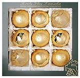 ORIGINAL LAUSCHAER Christbaumschmuck - 9er Set Kugeln, handdekoriert, Gold, 10 cm, mit goldenem Krönchen + 50 Schnellaufhänger in Gold GRATIS zu Ihrer Bestellung dazu !