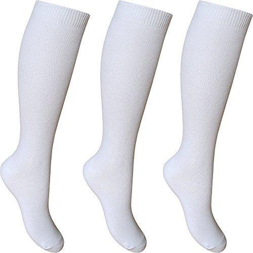 Damen & Girls kniehoch Länge baumwollreich Alltag schulsocken (3 Paar Multi Packung) - Weiß, UK Shoe Size 4-6