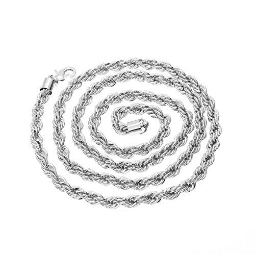 Männer Gold-seil-kette (HOX Vergoldete Halskette 6Mm Twisted Strand Gold Überzogene Verdrehte Seil Kette Männer und Frauen Halsketten, Silber)