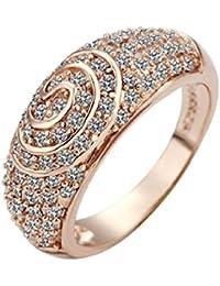 joyliveCY 2018la moda mujer elegante 18K chapado en oro anillo rosa Golden Spiral Reino Unido tamaño Q