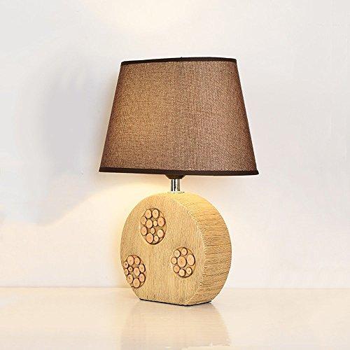 GAOYU Nordic Modern Brown Keramik (Imitation Holzschnitzerei) Tischlampe Schatten Tuch, Wohnzimmer Schlafzimmer Nachttisch Hotel Dekoration Lichter; Einfache Mode-Stil (Box-schatten-tischleuchte)