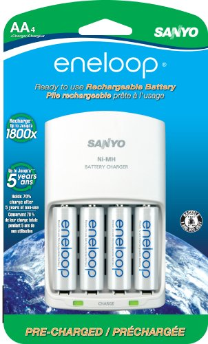 eneloop AA with 4 Position Charger 1800 cycle Ni-MH Pre-Charged Rechargeable Batteries 4 Pack  available at amazon for Rs.4689