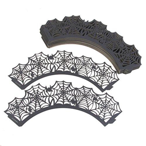 Förmchen Kuchen Verpackungen Halsbänder Halloween Party 50pcs Schwarz (Einfach Spinne Halloween-kuchen)