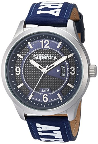 Superdry Unisex Erwachsene Analog Quarz Uhr mit Stoff Armband SYGSYG171UW