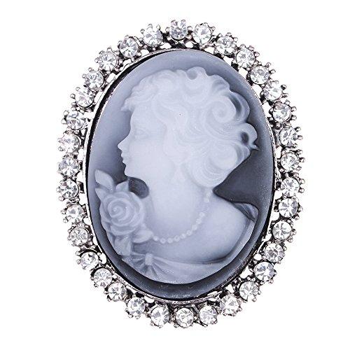 lureme® Annata Cristallo Gem Sculpture Victorian Signora Brooch Pin (br000022)