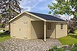 Holzgarage H161 inkl. Holztor - 44 mm Blockbohlenhaus, Grundfläche: 23,10 m², Satteldach