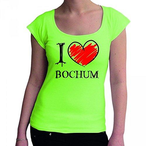 I love Bochum Fun Damen Boat Neck T-Shirt, Größe:M;Farbe:mintgrün